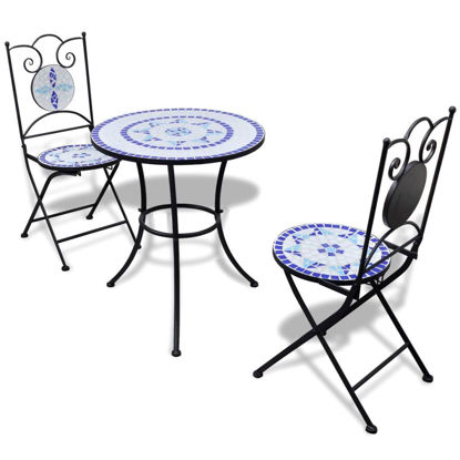 "Picture of Outdoor Bistro Table 23"" with 2 Chairs - Mosaic - Blue and White"