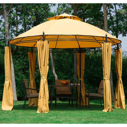 """Picture of Outdoor Canopy Patio Gazebo with Curtains 11"""" - Orange"""