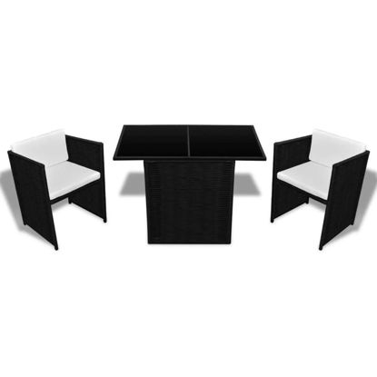 Picture of Outdoor Dining Set - Poly Rattan - Black
