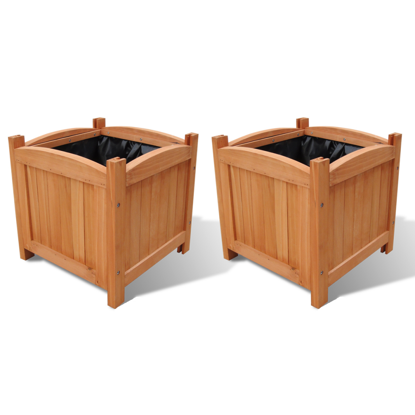 """Picture of Outdoor Garden Wooden Planters 11.8"""" x 11.8"""" x 11.8"""" - 2 pcs"""