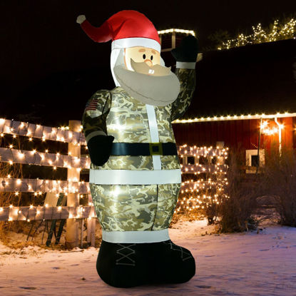Picture of Outdoor Inflatable Christmas Military Santa Claus Airblown 8 Ft
