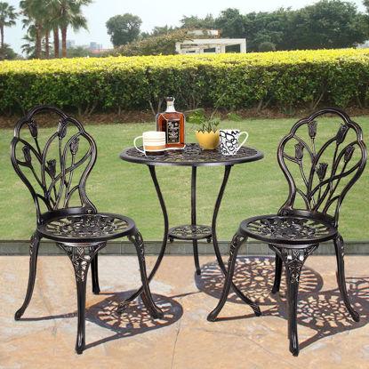 Picture of Outdoor Patio Bistro Set Tulip Design in Antique Copper