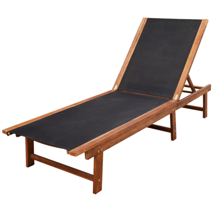 Picture of Outdoor Recliner Chair Chaise Sun Lounger - Acacia Wood