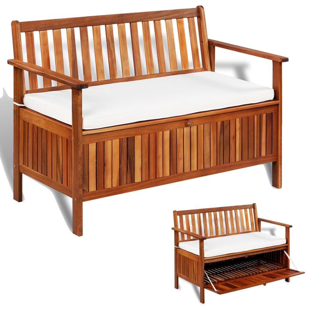 """Picture of Outdoor Storage Bench - 47"""" Solid Acacia Wood"""