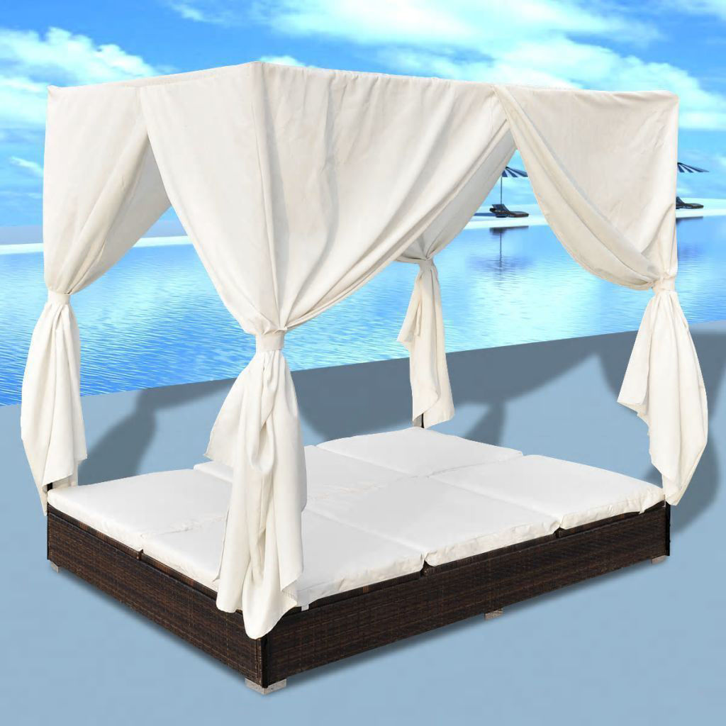 Picture of Outdoor Sunbed Lounger Bed with Curtains - Brown