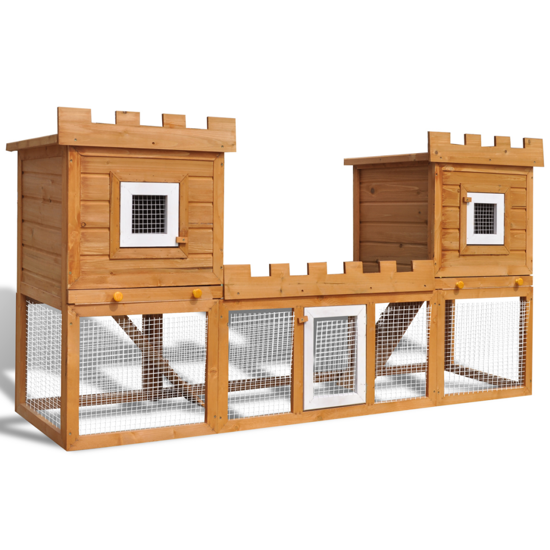 """Picture of Outdoor Wooden 76"""" Double Chicken Coop with Run"""