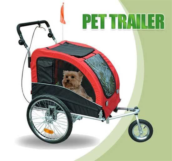 Picture of Pet Dog Stroller Bike Trailer - Red/Black
