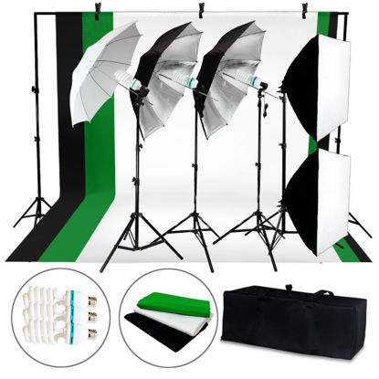 Picture of Photo Studio Photography Stand Backdrop 4 Light Bulb Umbrella Muslin