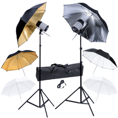 Picture of Photography Studio Set: 2 Flash Lights 120 W/s with 2 Tripods & 6 Umbrellas