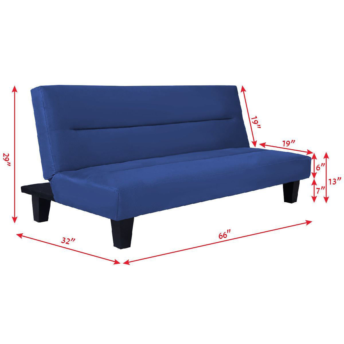 """Picture of Recliner Lounger Microfiber Futon Folding Couch Sofa Bed 6"""" Mattress Sleep Blue"""