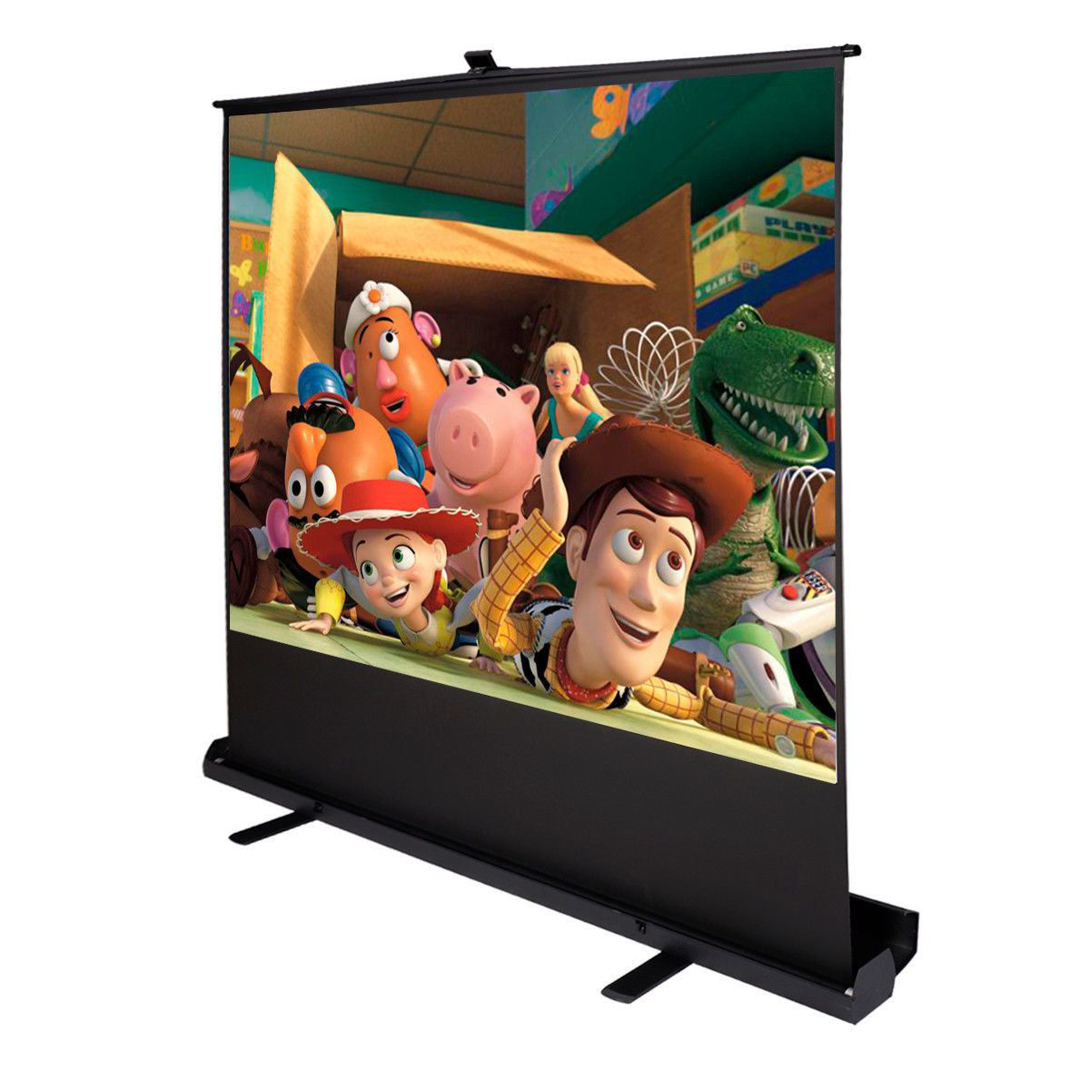 """Picture of Screen Projector 100"""" Inch 4:3 Portable Pull Up Floor Aluminium Case"""