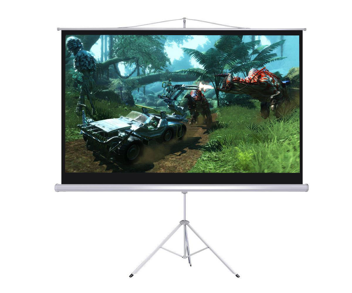 """Picture of Screen Projector Portable 100"""" 16:9 Projection Tripod Pull-up Matte White"""