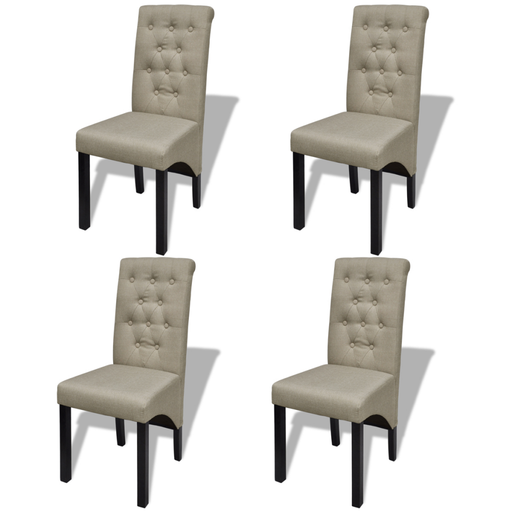 Picture of Scroll Back Linen Coated Wood Dining Chairs -Beige 4 pcs
