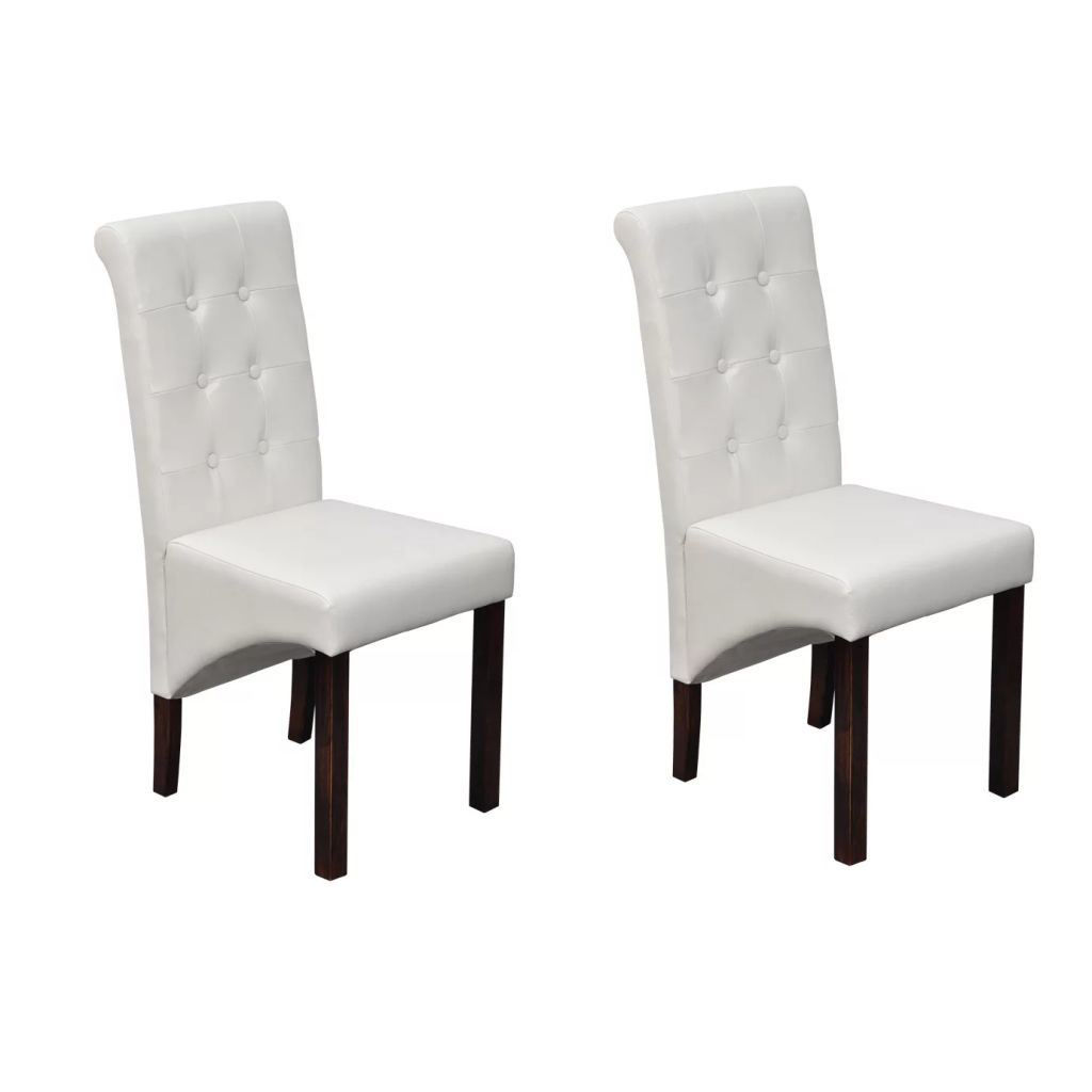 Picture of Set of 2 Antique White Artificial Leather Dining Chairs