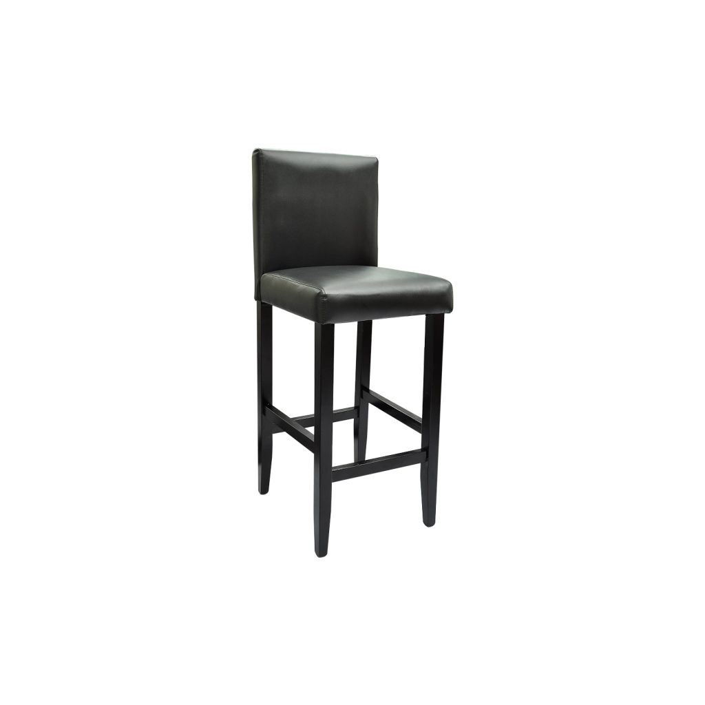 Picture of Set of 4 Modern Black Bar Stools Artificial Leather