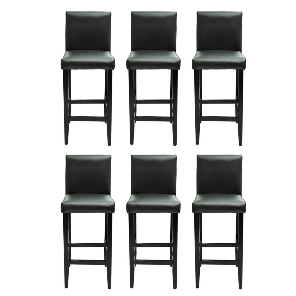 Picture of Set of 6 Modern Black Bar Stools Artificial Leather