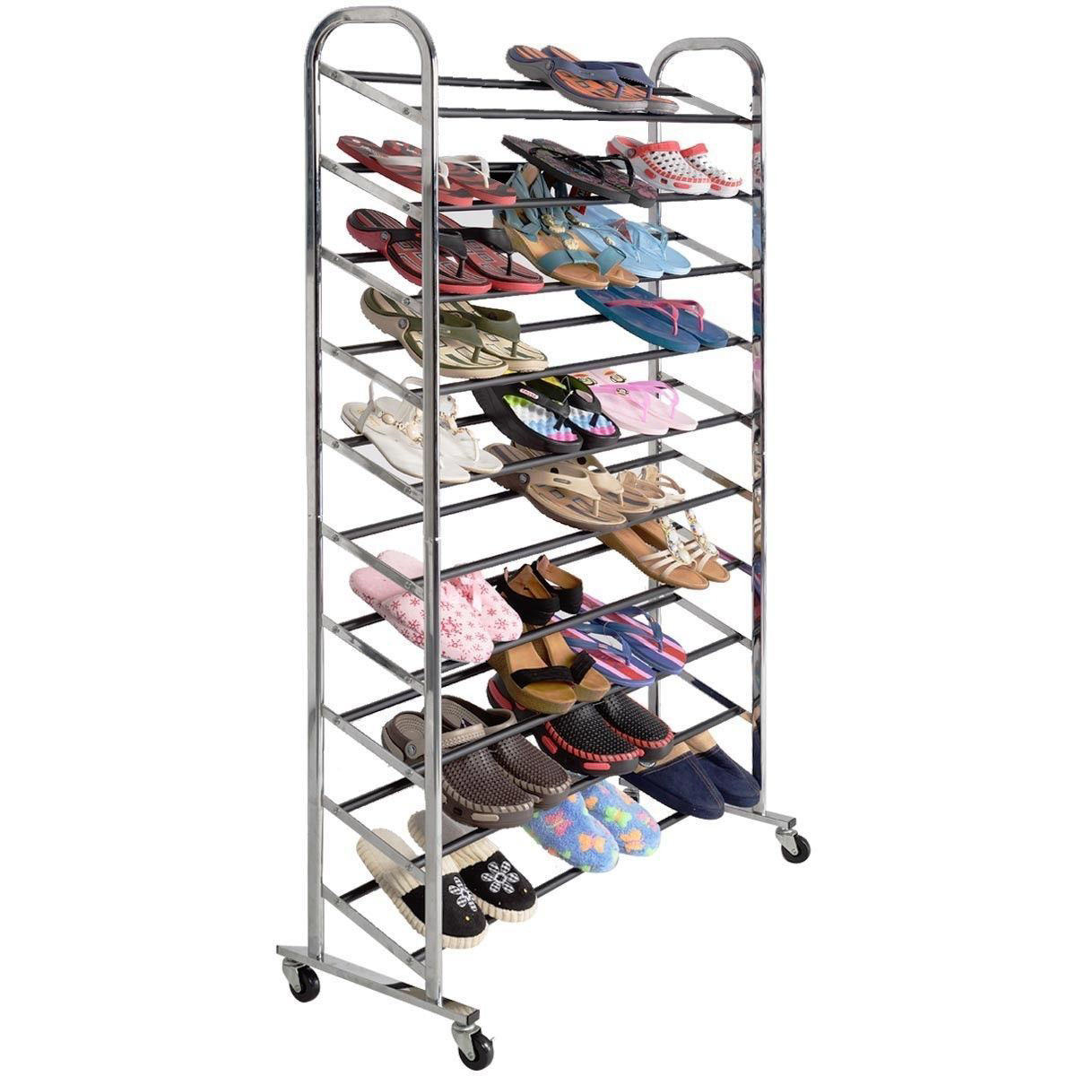 Picture of Shoe Rack Tower Chrome Metal 50 Pair