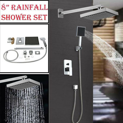 "Picture of Shower Head Rainfall Arm Control Set 8"" Chrome"
