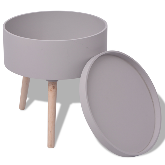 "Picture of Side Table with Serving Tray Round 15.6""x17.5"" Gray"