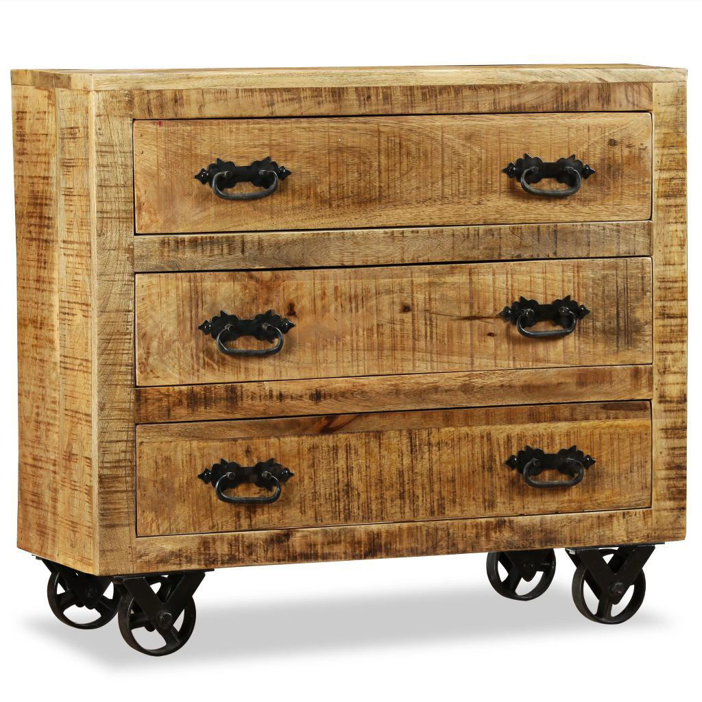 Picture of Sideboard with 3 Drawers Rough Mango Wood