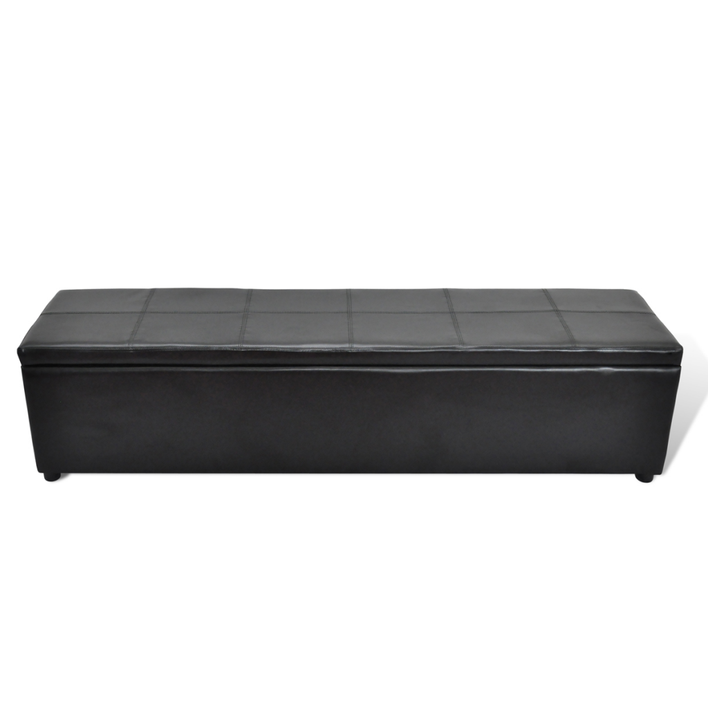 Picture of Storage Bench Leather Foot Stool Ottoman Large - Black