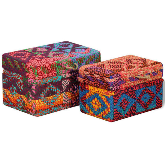 Picture of Storage Boxes Set of 2 - Chindi Fabric Multicolor