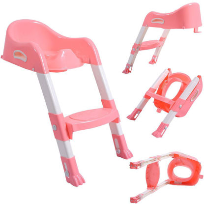 Picture of Toilet Potty Trainer Seat Chair with Ladder Step Up Stool for Toddler Pink