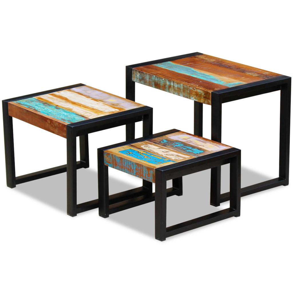 Picture of Three Piece Nesting Tables Solid Reclaimed Wood