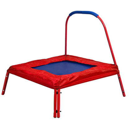 Picture of Trampoline 3' x 3' Square Jumping with Handle Bar and Safety Pad for Kids Red