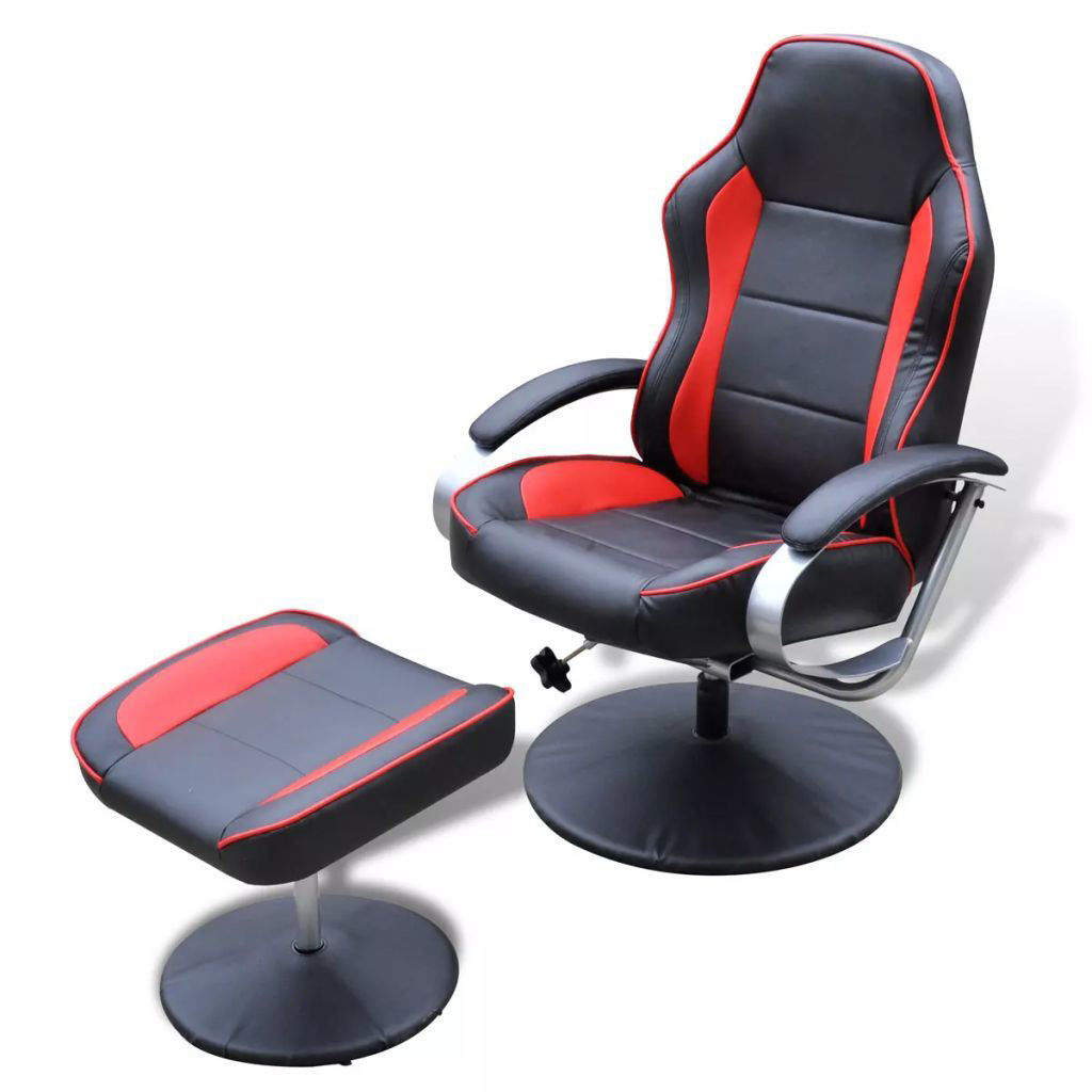 Picture of TV Armchair Recliner Artificial Leather Black and Red with Footrest
