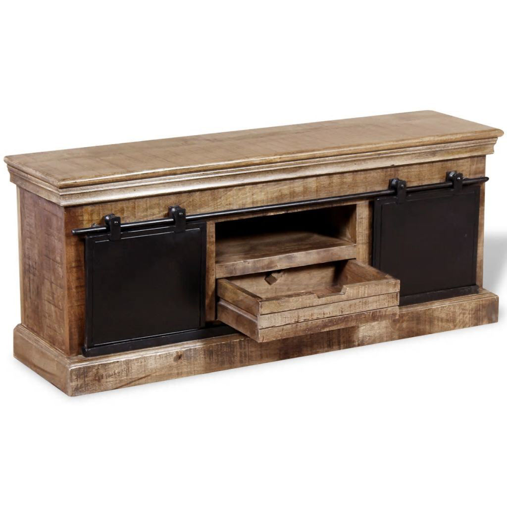 """Picture of TV Cabinet with 2 Sliding Doors 43"""" - Solid Mango Wood"""