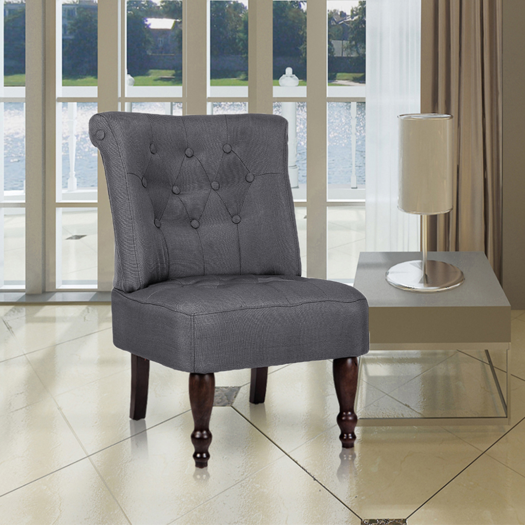 Picture of Vintage French Fabric Chair Accent with Tufted Back - Gray