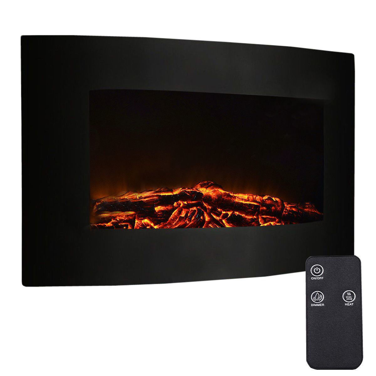 Picture of Wall Mount Adjustable Electric Fireplace with Remote 1500W 35""
