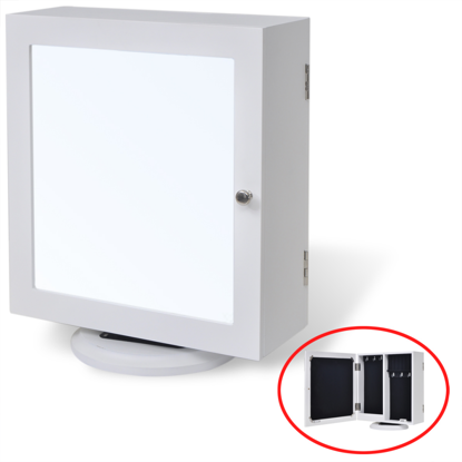 Picture of White MDF Mirrored Jewelry/Storage Cabinet