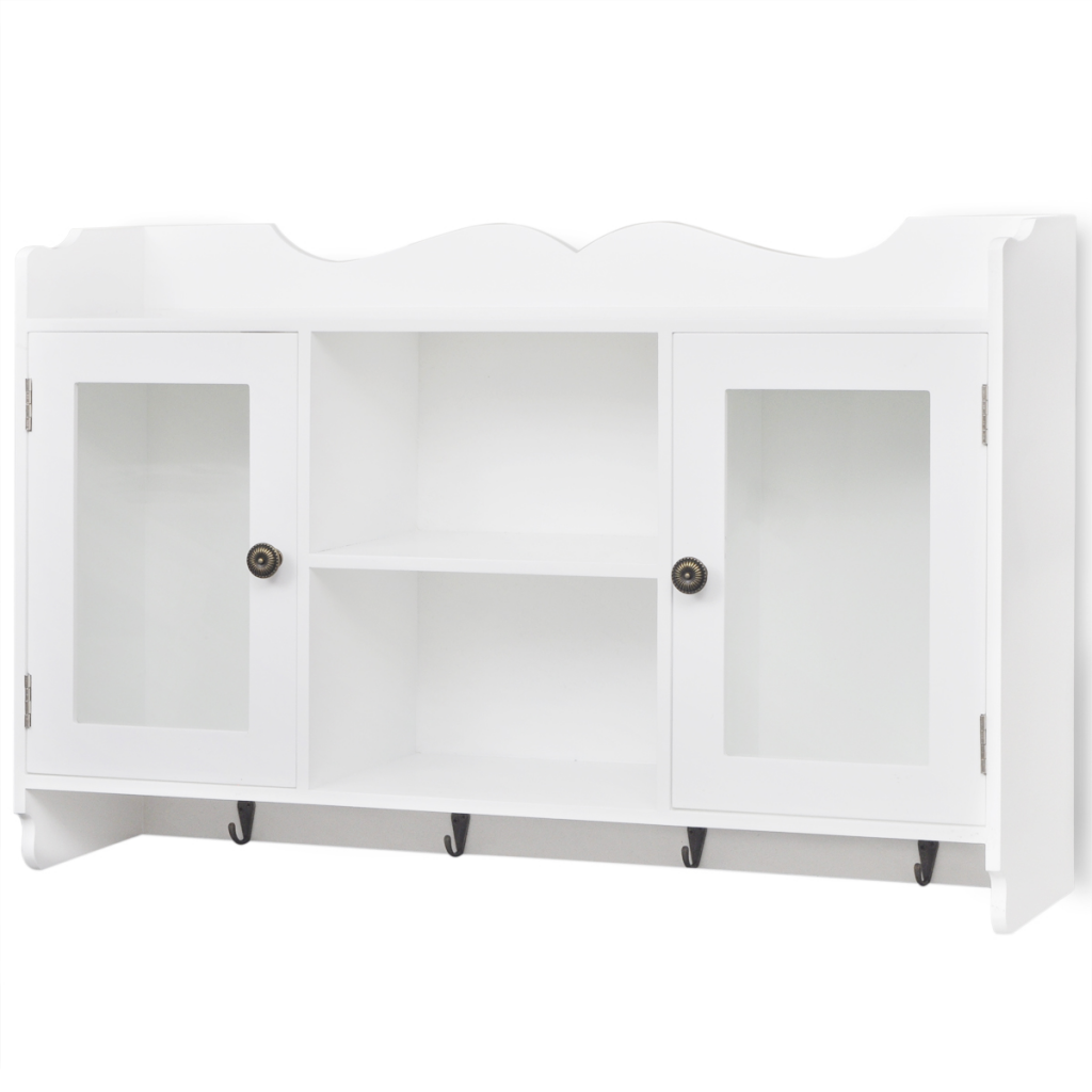 Picture of White MDF Wall Cabinet Display Shelf Book/DVD/Glass Storage