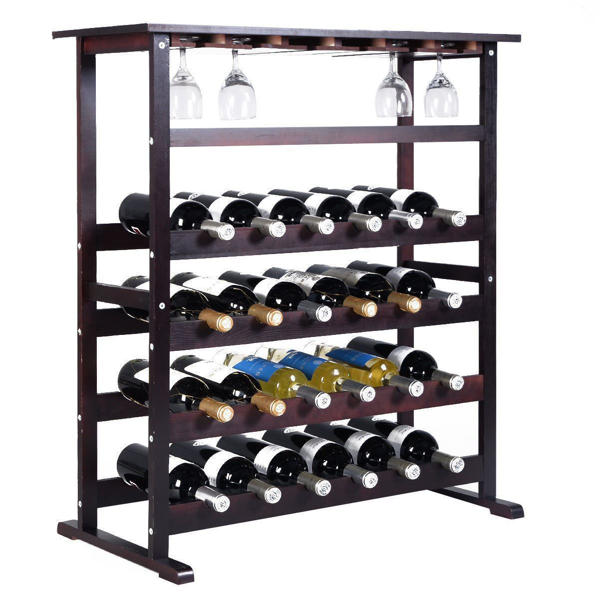 Picture of Wine Rack Holder Storage with Glass Hanger for 24 Bottles