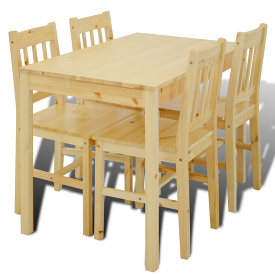 Picture of Wooden Dining Table with 4 Chairs Natural