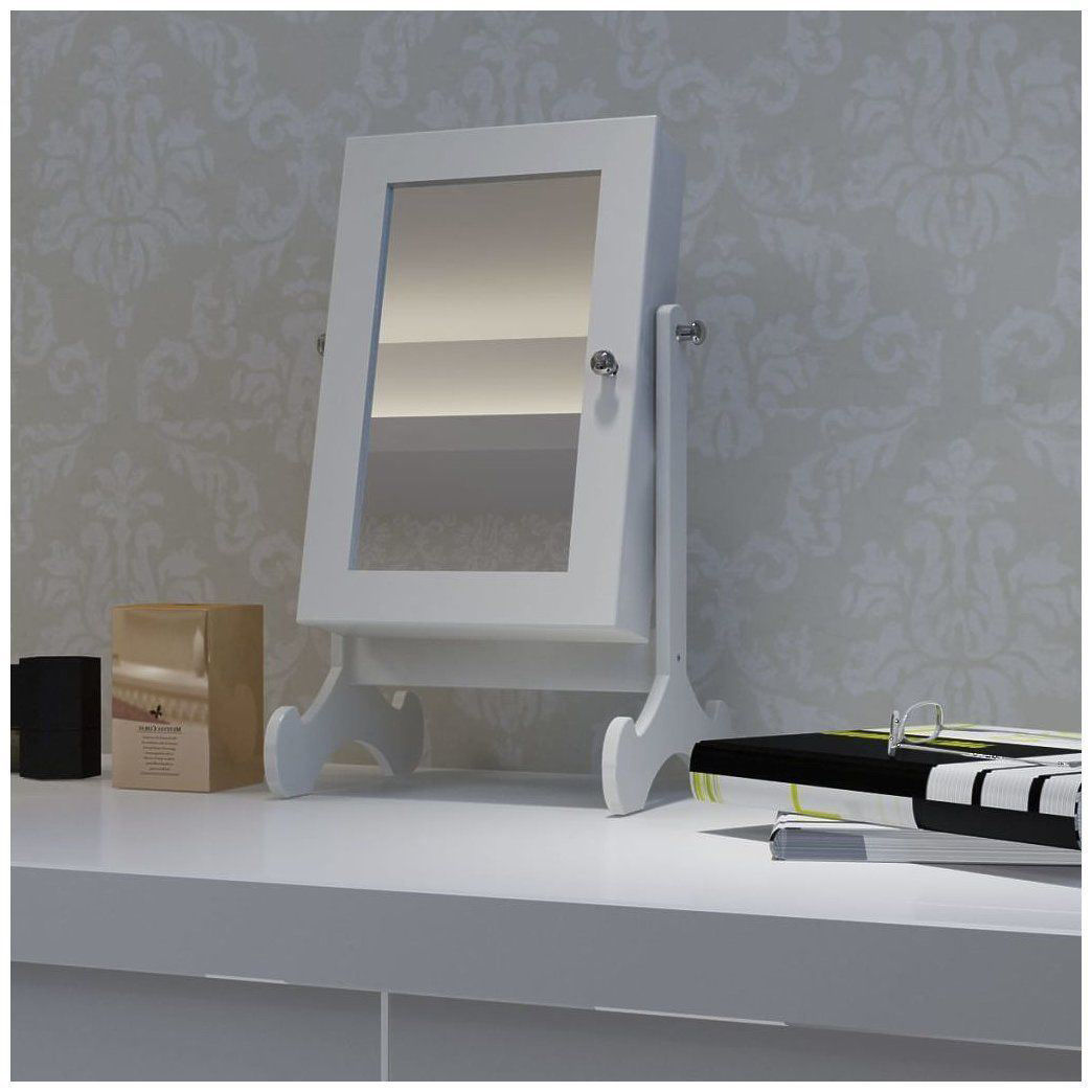 Picture of Wooden Jewelry Cabinet with Mirror Tabletop - White