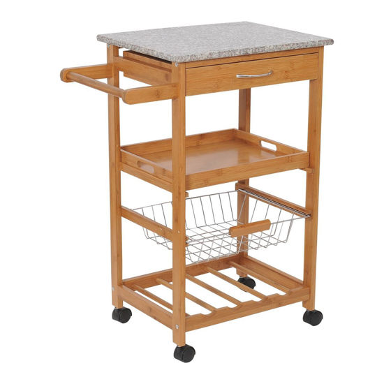 Picture of Wooden Kitchen Trolley Cart with Wine Rack – Granite Top