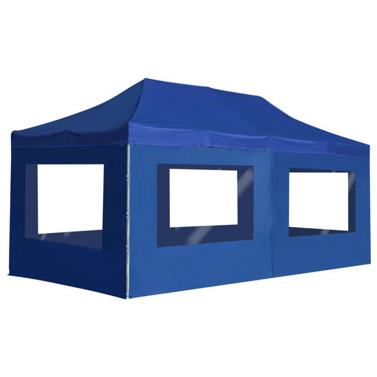 Picture of Outdoor Folding Aluminum Gazebo Tent with Walls - Blue
