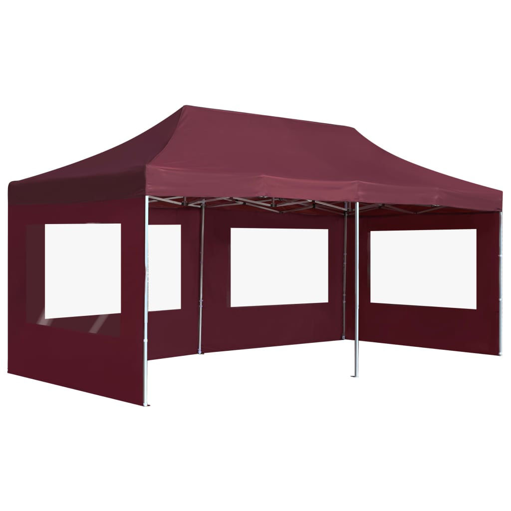 Picture of Outdoor Folding Aluminum Gazebo Tent with Walls - Wine Red