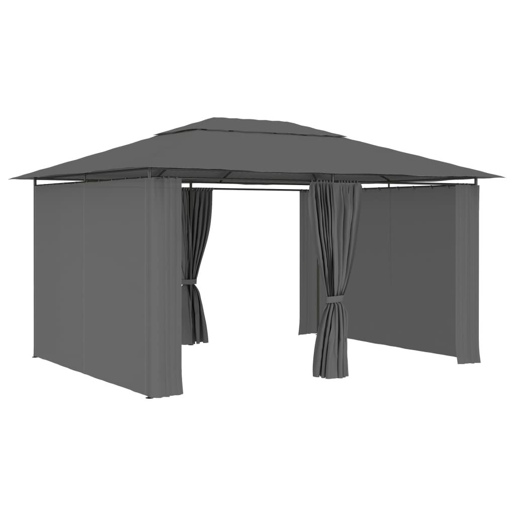 Picture of Outdoor Gazebo Tent Marquee with Curtains - Anthracite