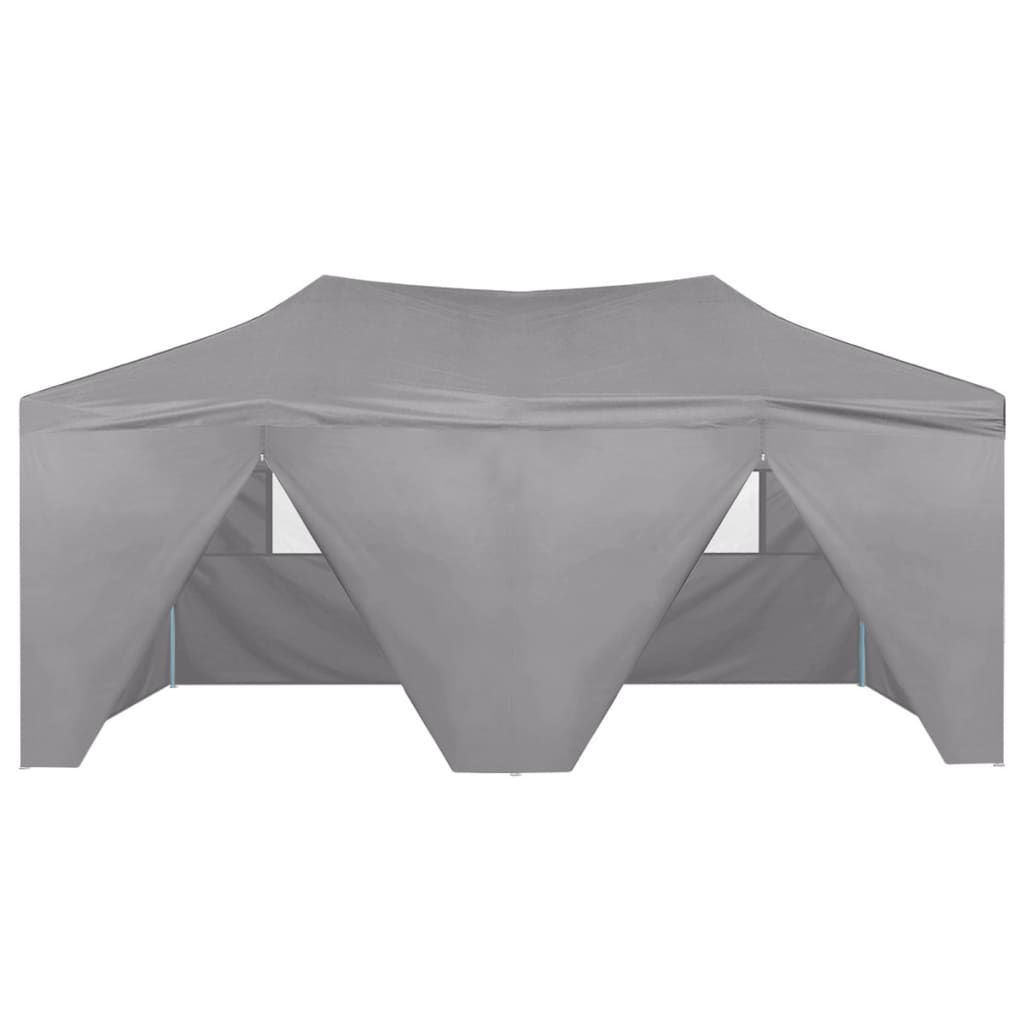 Picture of Outdoor Steel Gazebo Folding Party Tent with 4 Sidewalls - Anthracite