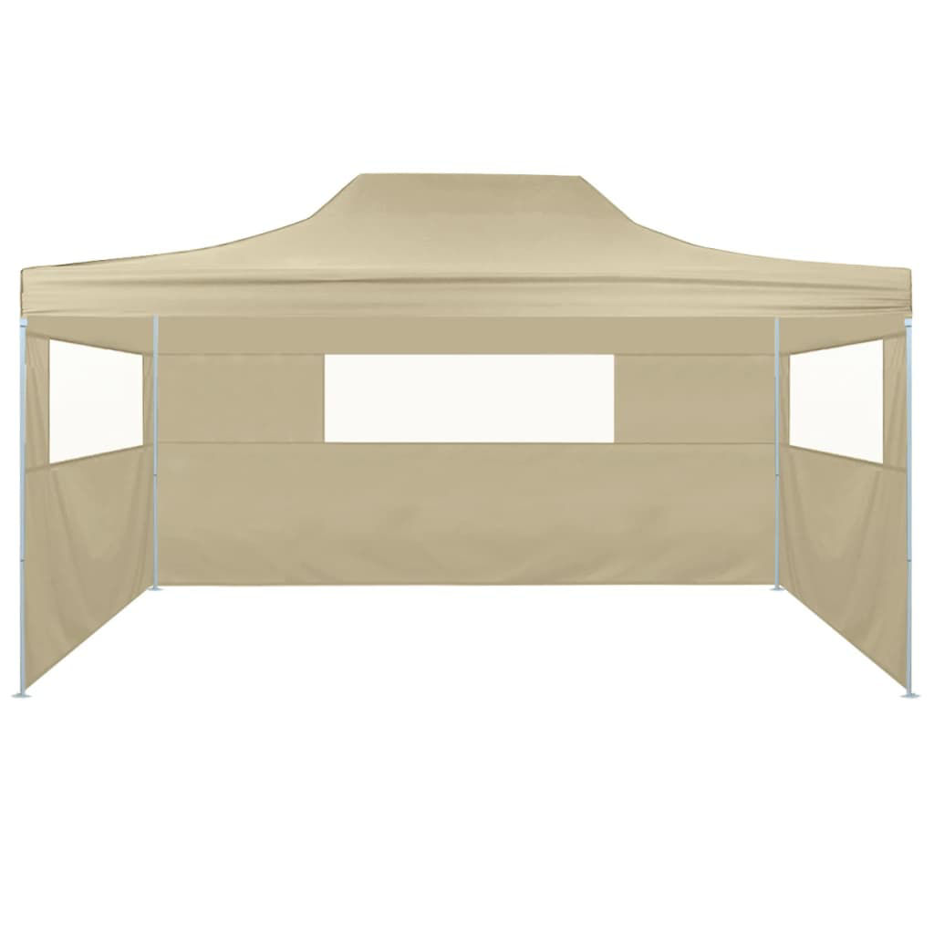Picture of Outdoor Steel Gazebo Folding Party Tent with 3 Sidewalls - Cream