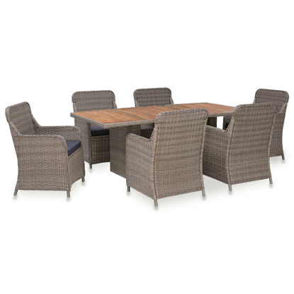 Picture of Outdoor Dining Set with Cushions - Brown 7 pc