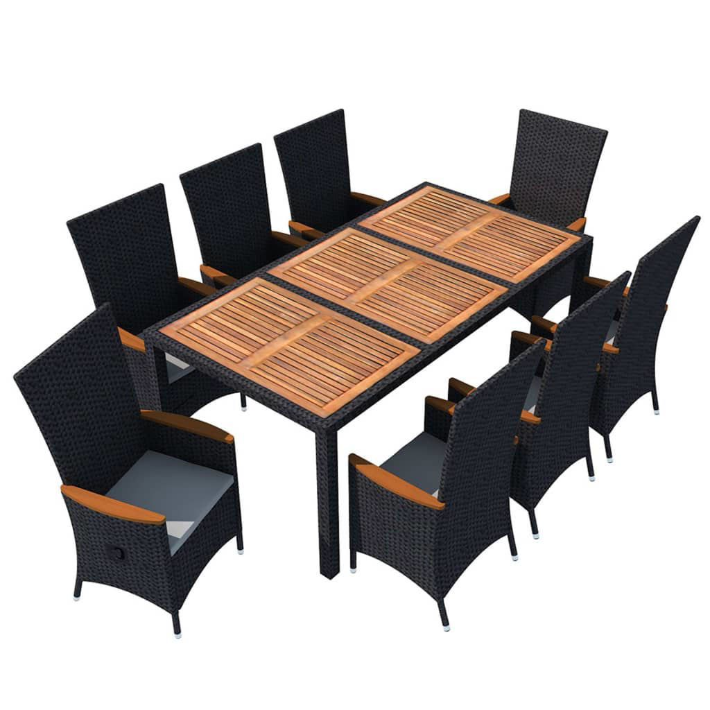 Picture of Outdoor Dining Set - Black 9 Pcs