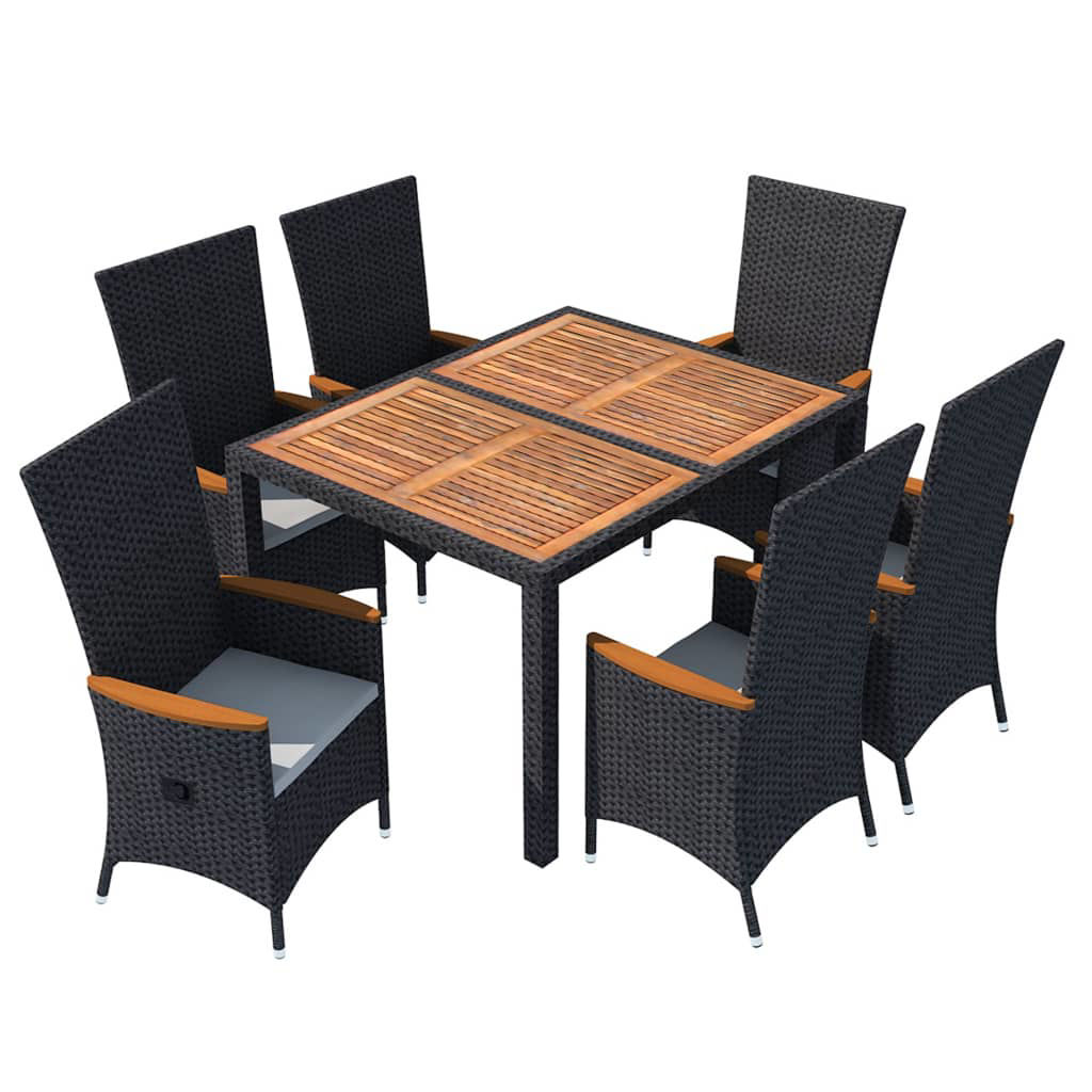 Picture of Outdoor Dining Set - Black 7 Pcs