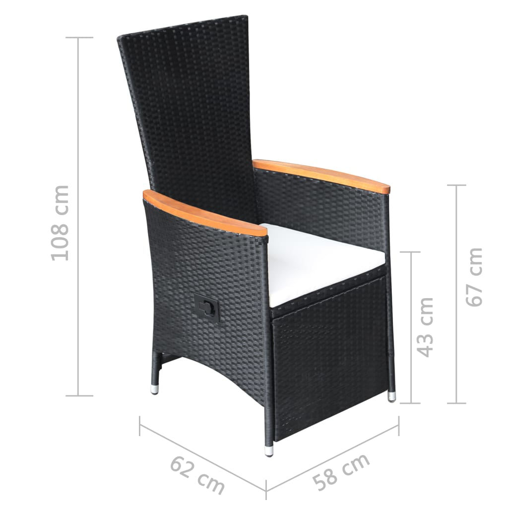 Picture of Outdoor Reclining Chairs - Black 2 pcs