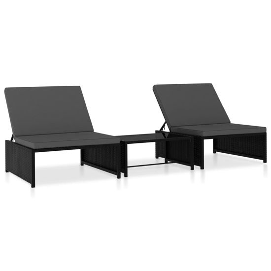 Picture of Outdoor Loungers with Table - Black