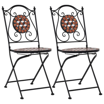 Picture of Patio Mosaic Bistro Chairs - Brown 2 pcs
